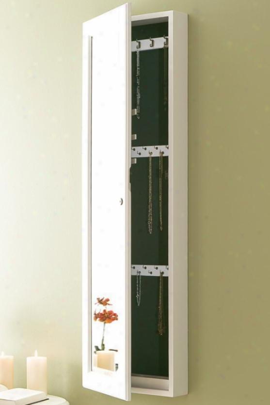 """fremont Wall-mout Jewelry Mirror - 49""""hx15""""w, White"""