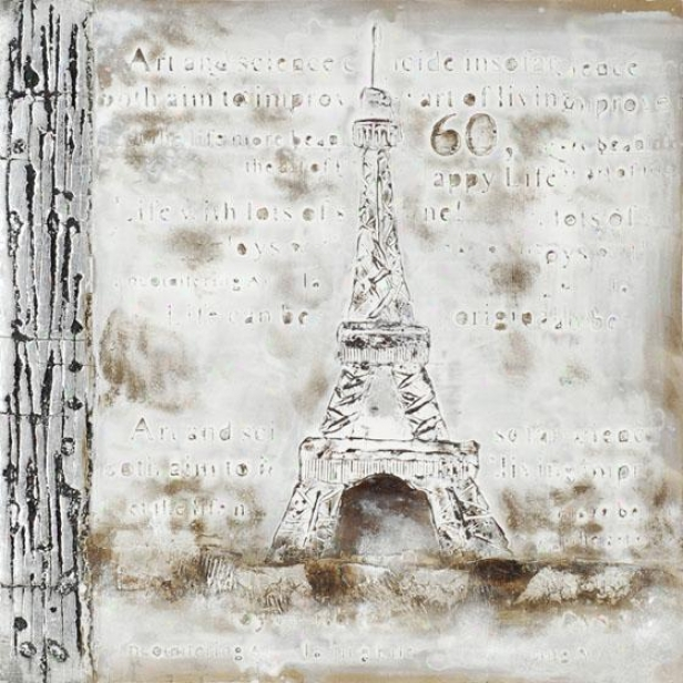 French Impressios Framed Wall Art Collection - Eiffel Tower, Gray