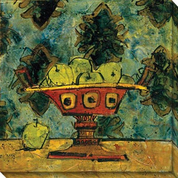 Fruit In Fancy Ceramic I Canvas Wall Art - I, Green