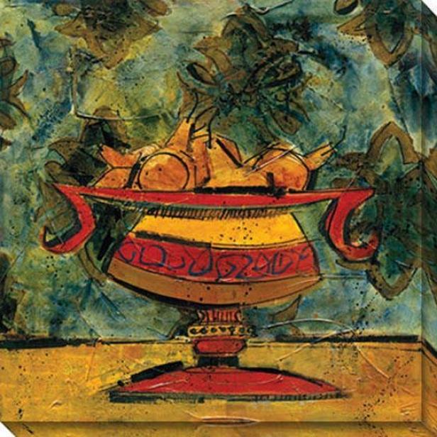Fruit In Fancy Ceramic Ii Canvas Wall Art - Ii, Green