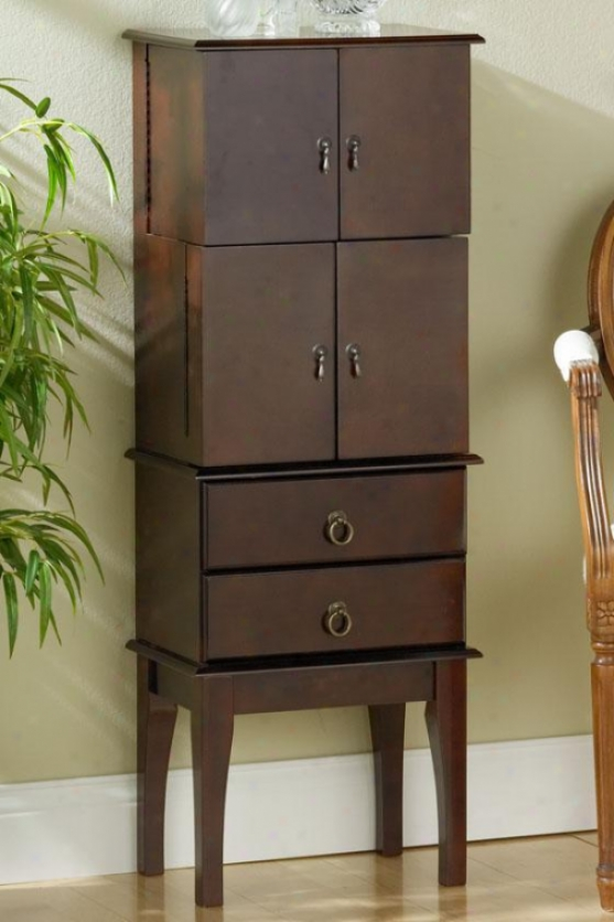 """gabriel Jewelry Armoire - 44.75""""hx16.25""""w, Brick Red"""
