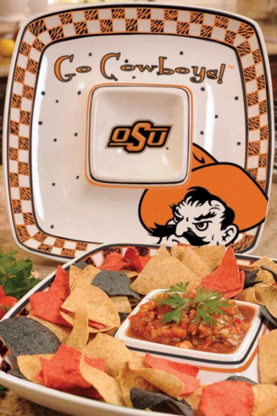 Gameday Chip And Dip Platter - College Teams Oklahoma State