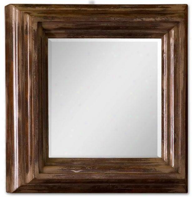 """garcia Mirror - 30""""square X 9""""d, Cinnamon"""