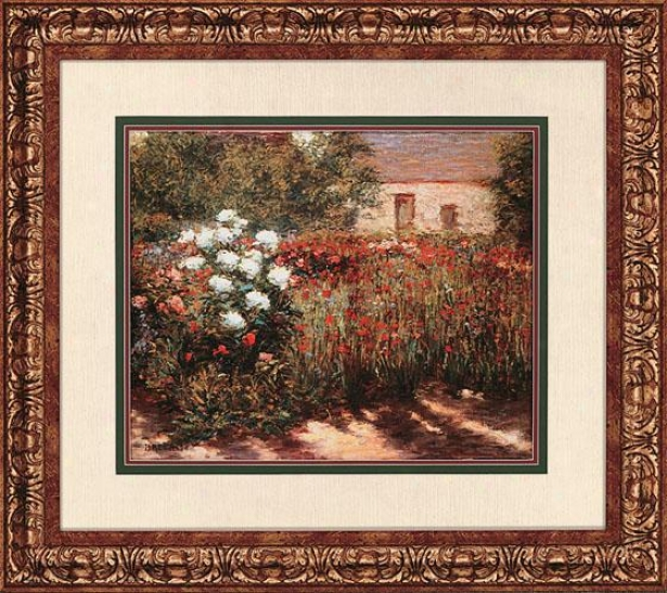 """garden At Giverny Wall Art - 31""""hx35""""w, Red"""