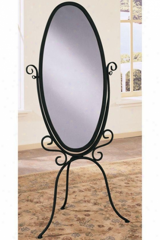 """garden District Scroll Cheval Mirror - 6025""""hx27""""w, Black"""