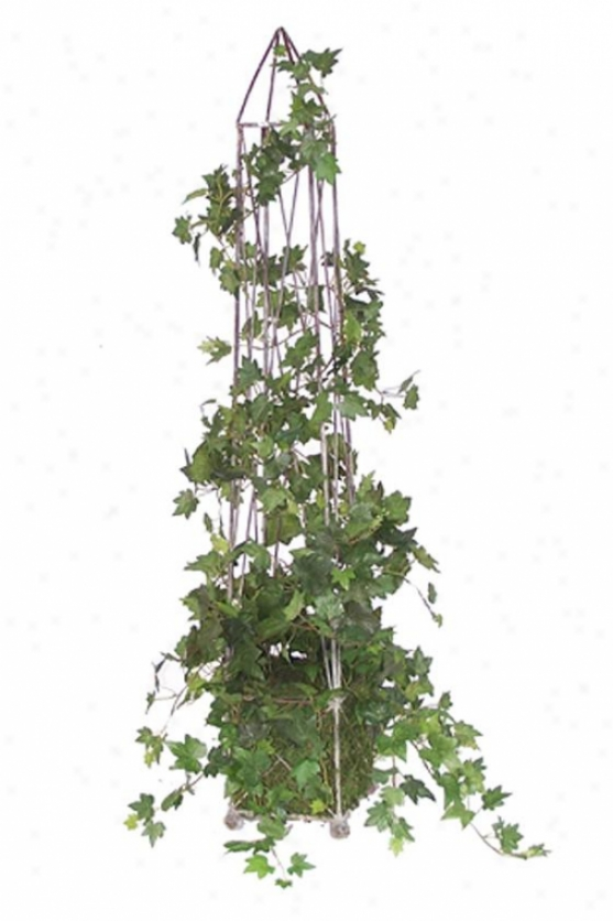 """""""garden Obelisk With English Ivy - 44h X8w X8""""""""d, Green"""""""