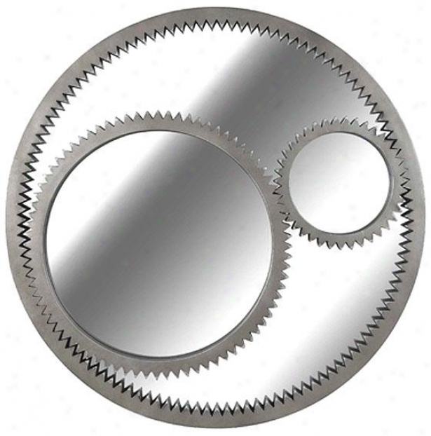 """gear Wall Mirror - 34"""" Round, Weathered Steel"""