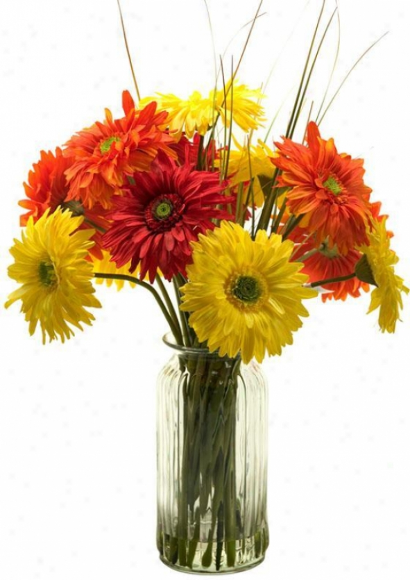 """""""gerber Daisies In Tall Glass Vase - 29""""""""hx18""""""""w, Pink/grn/white"""