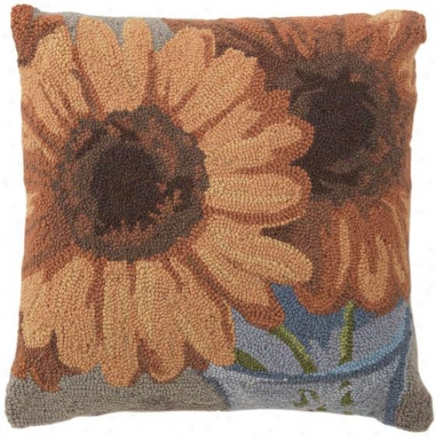 """gerbera Hooked Pillow - 18""""square, Gold"""