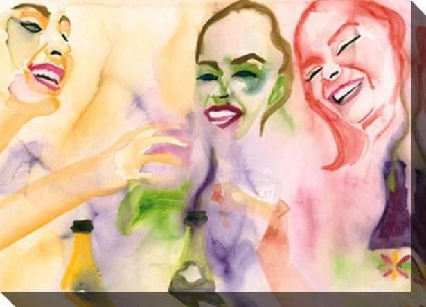 """girl's Night Out Canvas Wall Art - 48""""hx35""""w, Yellow"""