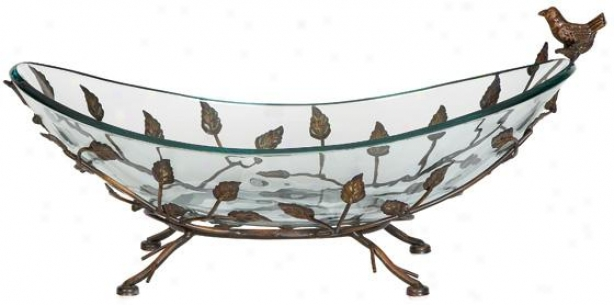 Glass Anx Iron Bird Bowl - 8hx22w, Glass