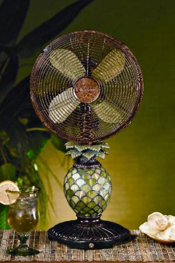 """glasw Pineapple Table Top Fan - 23h X 10""""d, Green"""