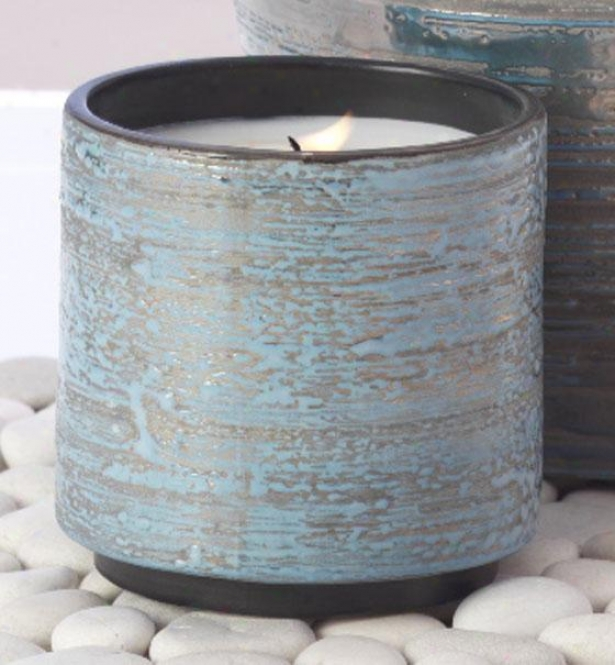 """glazed Candle Jar - 4h X 4""""w, Blue"""