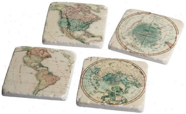 Global Coasters - Set Of 4 - Set Of 4, Ivory