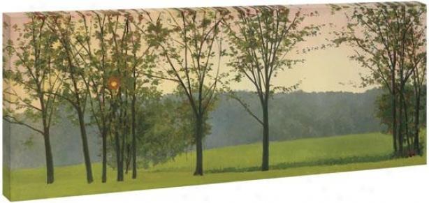 Golden Sunset Wall Art - 24hx72wx1.5d, Green