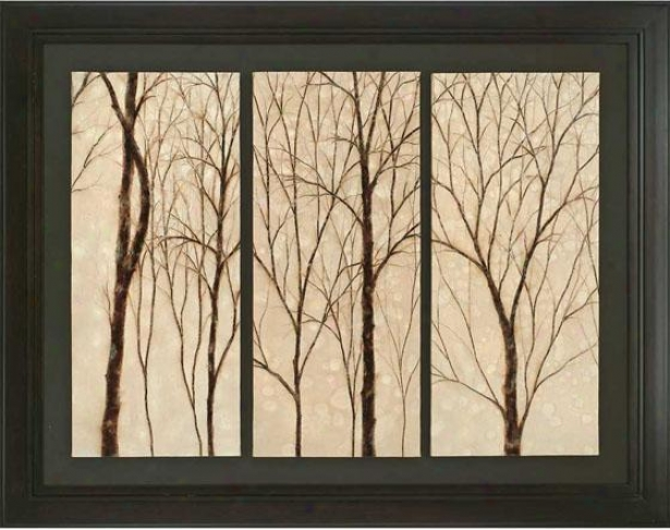 """graceful Trees Framed Wall Art - 44""""h X 56""""w, Beige"""