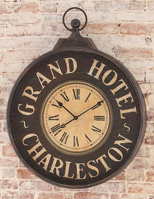 """grand Hotel Charleston Clock - 40""""hx32""""wx4""""f, Black"""
