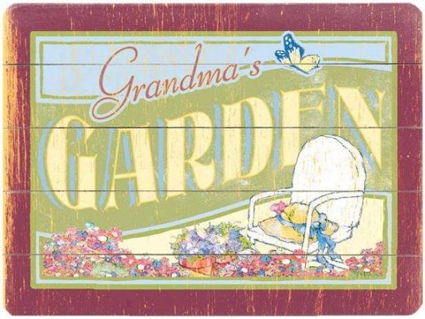 """grandma's Garden Wooden Sign - 20""""hx14""""w, Green"""