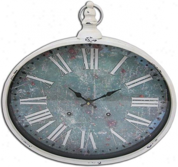 """green Stopwatch Iron Wall Clock - 17""""round X 2""""d, Gree"""