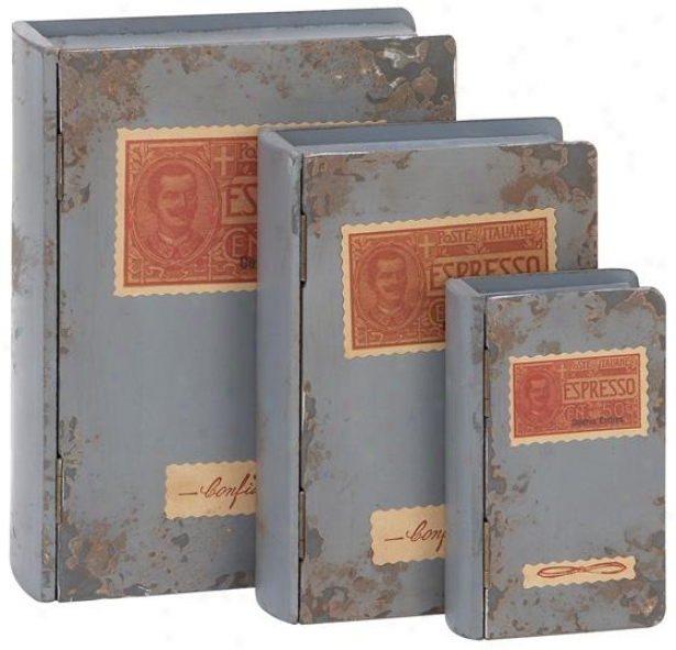 Grey Antique Wood Book Boxes - Set Of 3 - Set Of 3, Grey