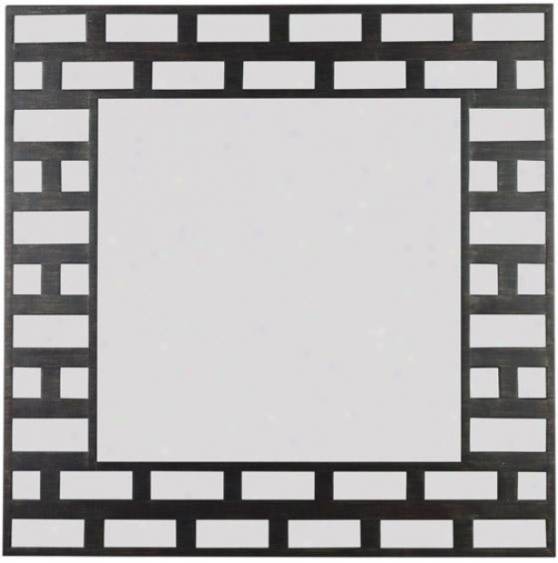 """grimaldi Wall Mirror - 34"""" Square, Black Mottled"""