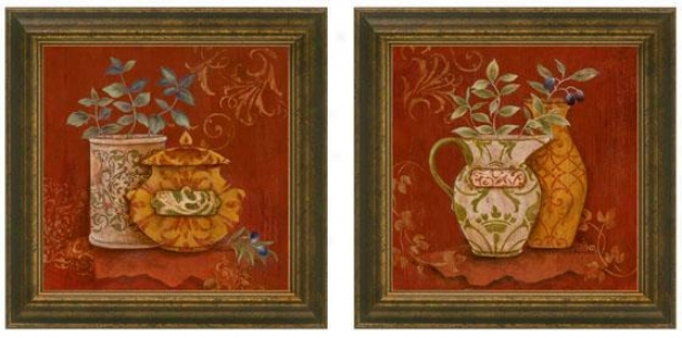 Gusto Italiano Feamed Wall Art - Set Of 2 - Set Of Two, Burgundy