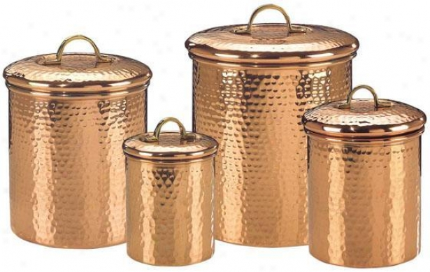 Hammered Copper Canisters - Set Of 4 - Set Of Four, Copper