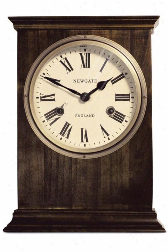 Hampton Mantel Clock - 12h X 9w X 3.5d, Brown Wood