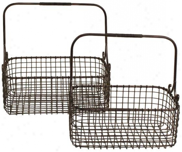 Handled Wire Basket - Set Of 2 - Set Of 2, Bronze