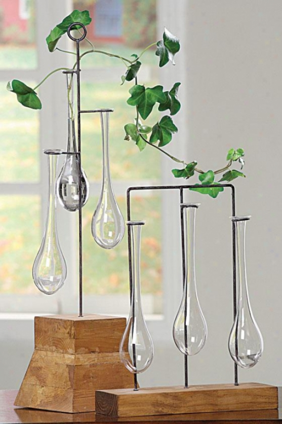 """hanging Vases With Stand - 14""""hx11"" ""wx3""""d, Brown"""