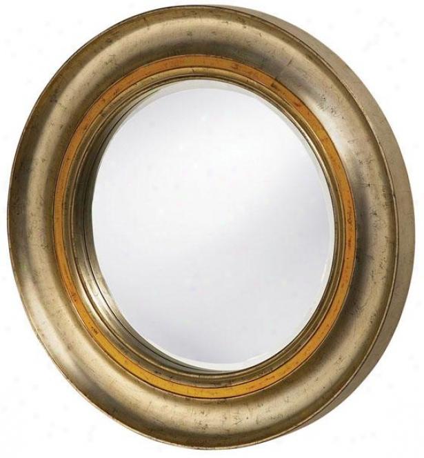 """""""harris Mirror - 36""""""""round X 3""""""""d, Silverleaf/gold"""""""