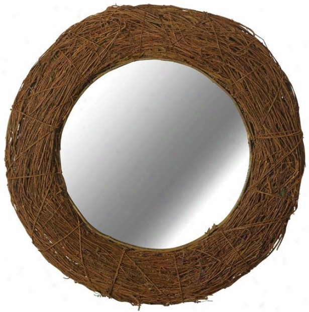 """harvest Wall Mirror - 32"""" Round, Natural Rattan"""