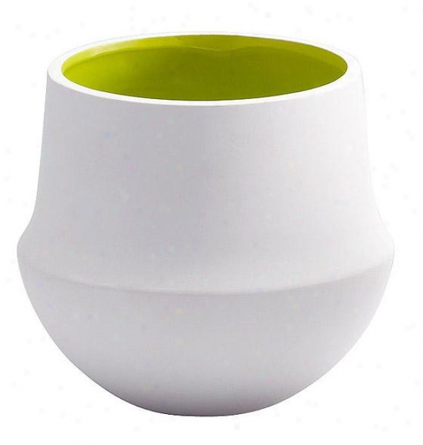 """havilland Vase - Small: 6hx7""""rd, White/lime"""