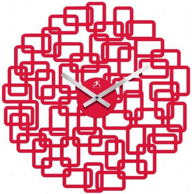"""helix Wall Clock - 19""""hx18.5""""w, Red Rasin"""