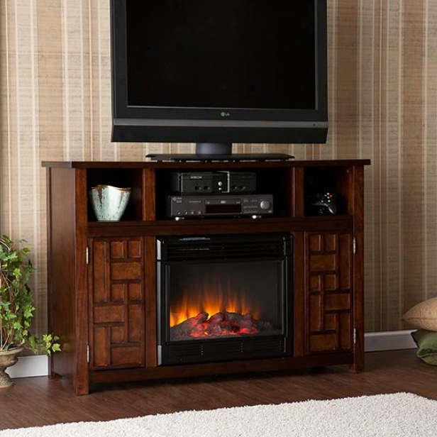 Hensley Media Fireplace - 35hx50w, Coffee Brown