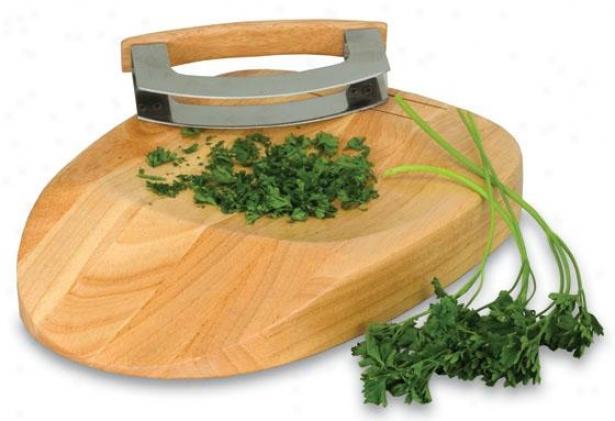Herb Chop Block With Mezzaluna - 2h X 12w X 8.5d, Natural Wood