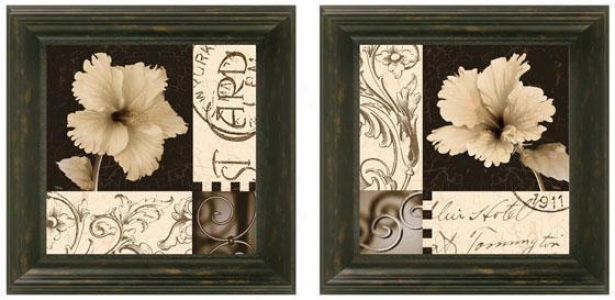 Hibiscus Blossom Framed Wall Art - Set Of 2 - Set Of Two, Black