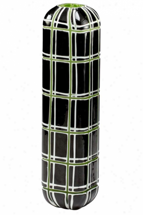 """highland Vase - Large 17hx4""""rd, Green/blk/white"""