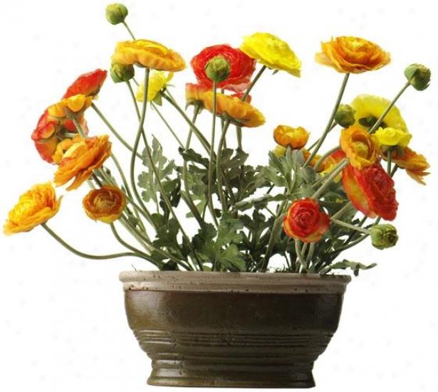 """""""holland Peony In Paper Mache Pot - 19h X 12w X 6""""""""d, Orange"""""""