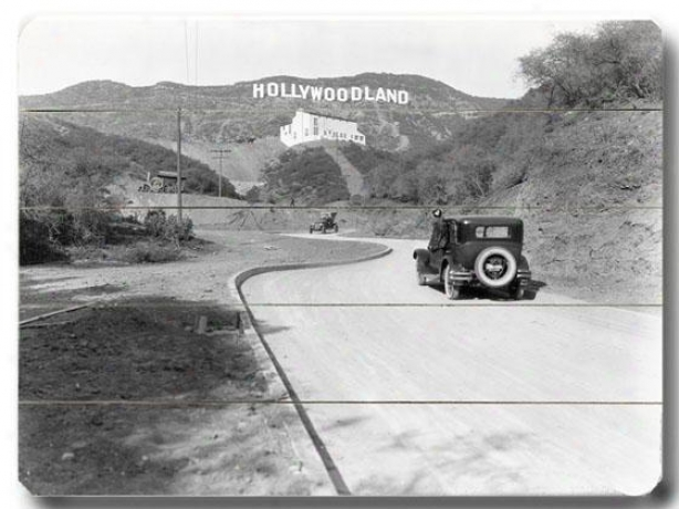 """hollywood 1924 Wooden Sign - 14""""h X 20""""w, Black"""
