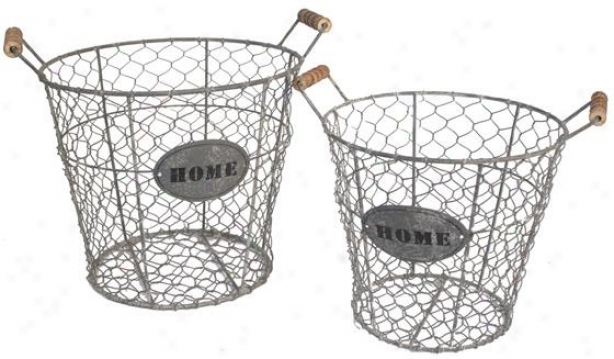 Domestic Wire Baskets - Set Of 2 - Set Of Pair, Grey