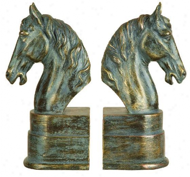 """Stand Head Bookends - Set Of 2 - 9""""hx3""""w, Goldd"""