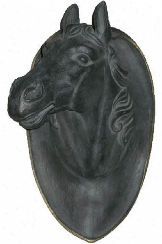 """Steed Head Plaque - 24""""h X 14""""w, Charcoal Gray"""
