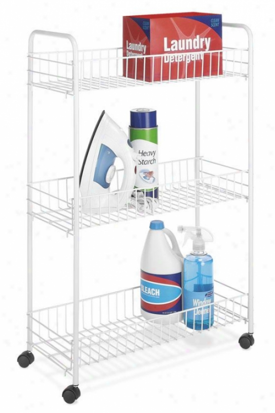 """household Cart - Slim 33""""hx2""""w, White"""