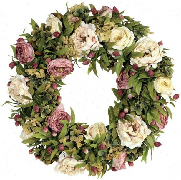 """hydrangea And Rose Wreath - 24""""d, Pink/green"""