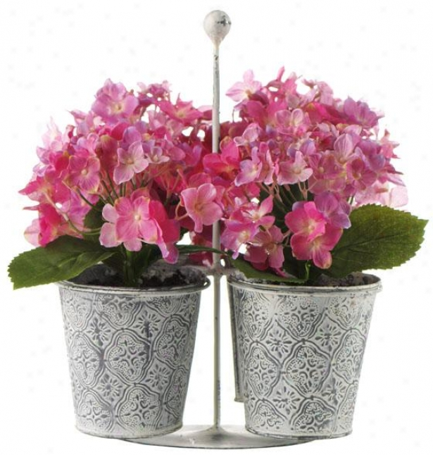 Hydrangea In Tin Jar Carrier - Write Of 4 - Set Of Four, Pink