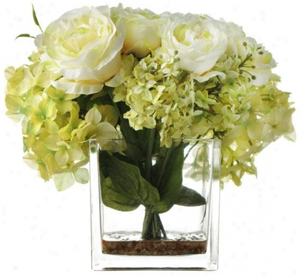 """hydrangea Rose In Glass - 10""""h, Green"""