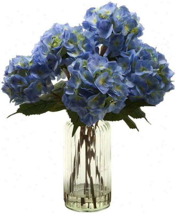 Hydrangeas In Tall Glass Vase 25hx22w Blue Home Decor