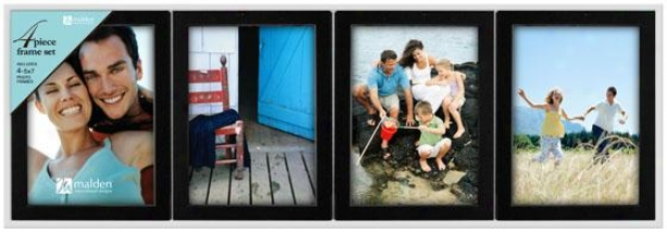 Full of character Black Picture Frames - Set Of 4 - 24.5hx1.75w, Black