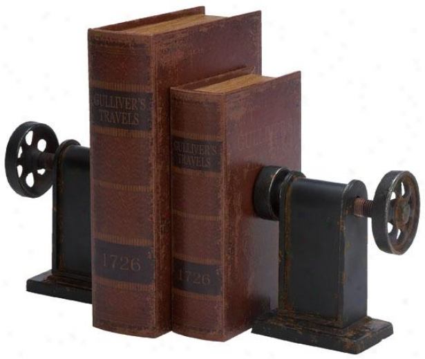 """industrial Bookends - Set Of 2 - Pr 8""""hx7""""w, Blavk Metallic"""